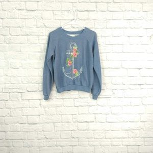 Billabong Blue Anchor Sweatshirt with Roses